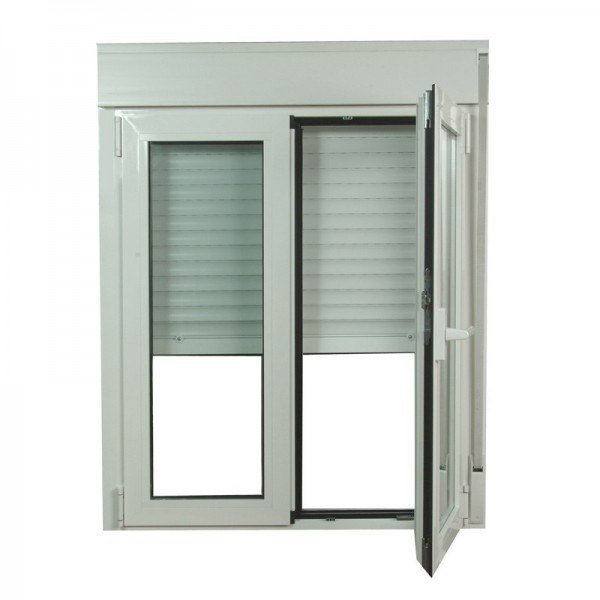 S2300 ventana oscilo batiente de aluminio con persianas for Ventanas de aluminio precios online